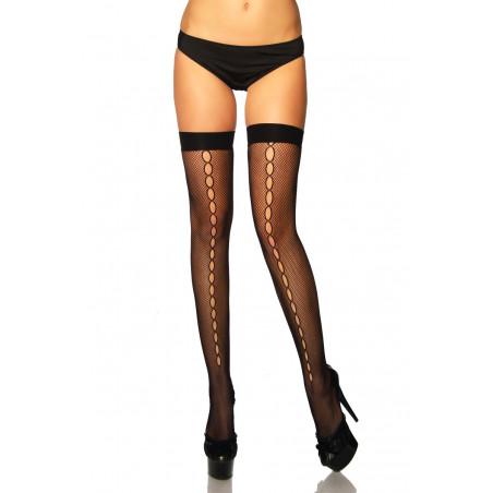 Netz-Stockings mit Lochreihe