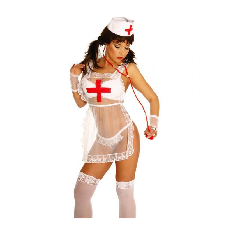 Krankenschwesternkostüm Weiss/Rot